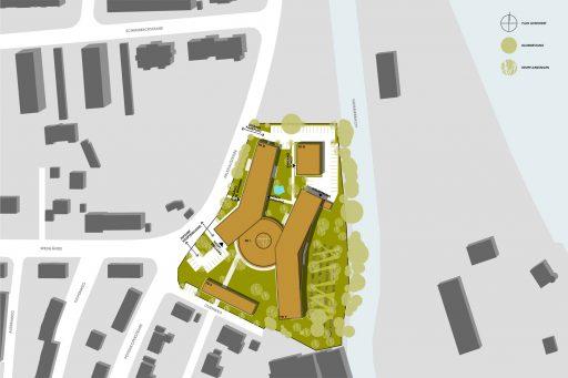 Lageplan eines Entwurfs für die Caritas Rosenheim